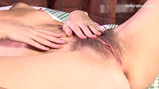 Awesome xxx defloration video with nice owner of a bit hairy pussy Rita Mochalkina