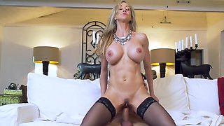 Cougar in black stockings gets introduced to her daughter's boy