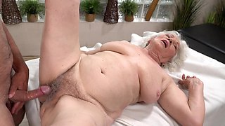 Fat old bitch gets her hairy twat fucked by young pecker