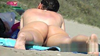 Sexy Body Nudist brunnette close up beach voyeur spycam