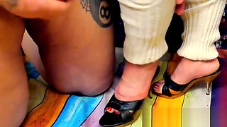 Shoesex with True Vintage Mules Baggy Leg Warmers and Inshoe Cumshot
