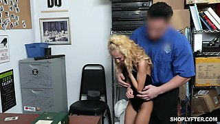 Guilty blonde chick Sadie Hartz is caught red handed and gets brutally fucked