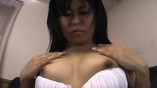Sly and shy Asian babe getting her wet pussy finger fucked