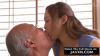 Amazing, Japanese housewife is having casual sex with a horny grandpa and enjoying it a lot