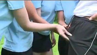 school girls and pe teacher